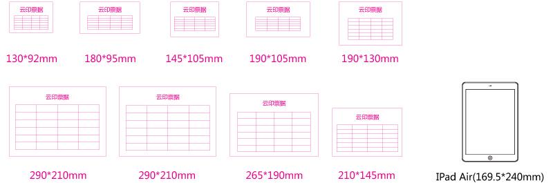 不同規格單據成品尺寸參數對比ipad air大小展示。