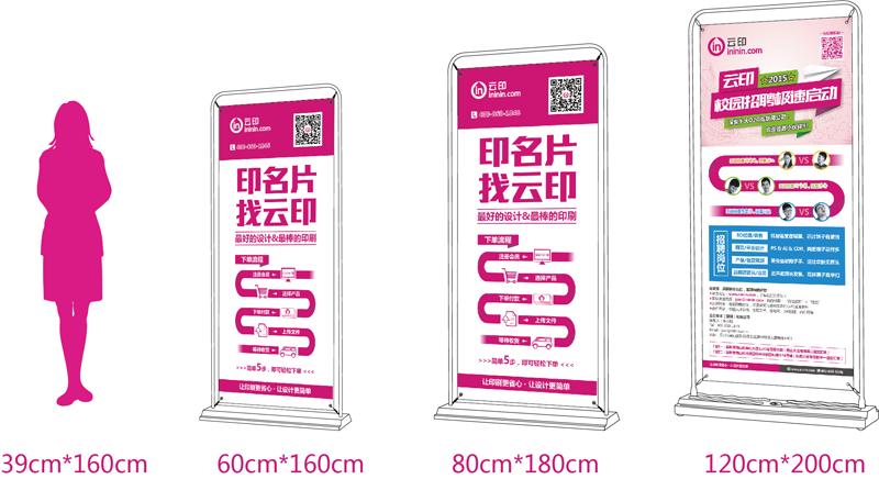 門型展架成品尺寸參數,對比尺寸大小展示。